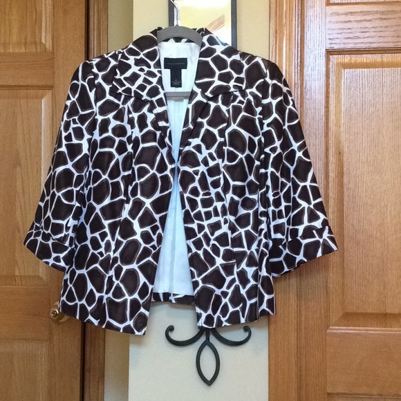 Investments Jackets & Blazers - Animal print jacket with 3/4 sleeves.